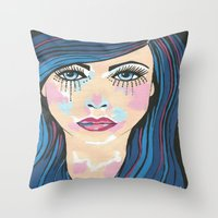 indigo Throw Pillows featuring Indigo by Sartoris ART