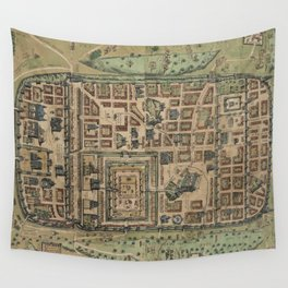 Vintage Map of Jerusalem Israel (1584) Wall Tapestry