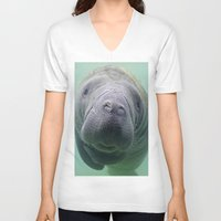 manatee V-neck T-shirts featuring Manatee by Heidi Ingram