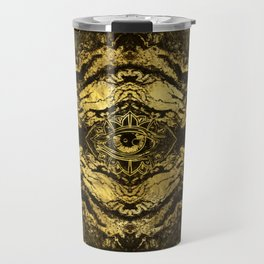 All Seeing eye golden texture on aged wood Travel Mug