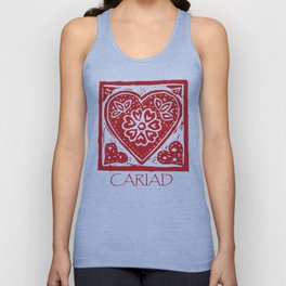 Cariad Darling sweetheart lino print red Unisex Tank Top