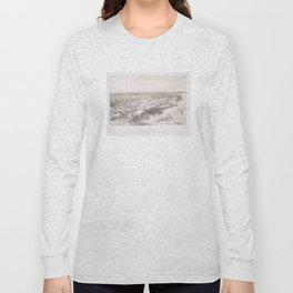 Vintage Pictorial Map of Hoboken NJ (1860) Long Sleeve T-shirt