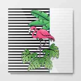 Tropical Flamingo Design Metal Print