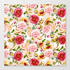Pattern flowers and tropical fruits Canvas Print
