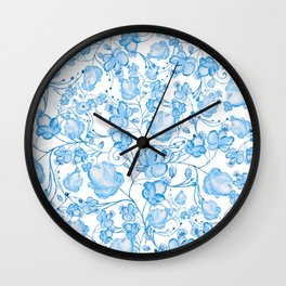 Blue white country watercolor hand painted floral Wall Clock
