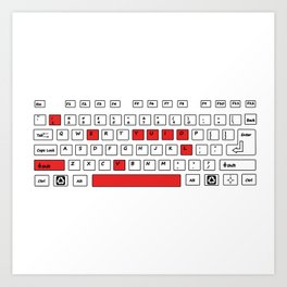 I Love You - Geek Love Keyboard Art Print