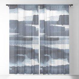 Blue Brush Sheer Curtain