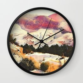A Winter of Pink Gold Hills by CheyAnne Sexton Wall Clock