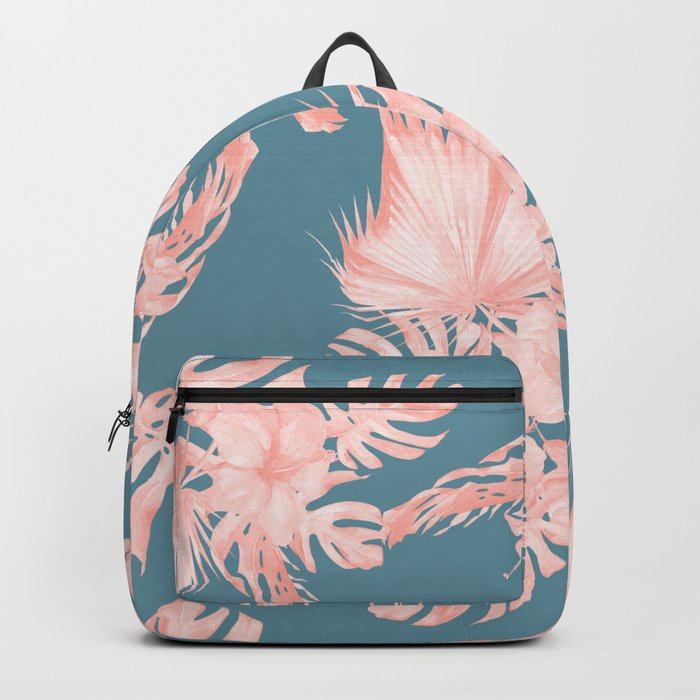 Tropical Palm Leaves Hibiscus Flowers Pink Blue Backpack