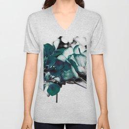 Dark Teal Flowers Unisex V-Neck