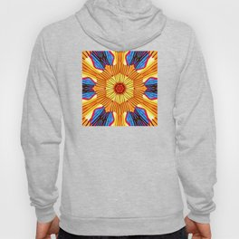 Abstract geometric infinite celestial circle star sun and flower burst pattern design in multicolor Hoody