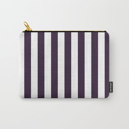 Narrow Vertical Stripes - White and Dark Purple Carry-All Pouch