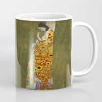 gustav klimt Mugs featuring Hope II by Gustav Klimt  by Palazzo Art Gallery