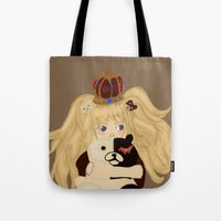 dangan ronpa Tote Bags featuring junko and monobear by sabrina
