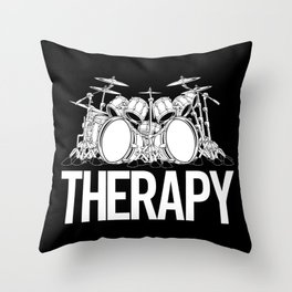 Drummers Therapy Drum Set Cartoon Illustration Throw Pillow