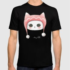 Stay Chill Cat Black SMALL Mens Fitted Tee