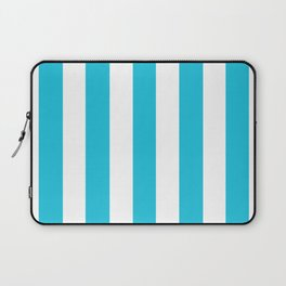 Caribbean blue - solid color - white vertical lines pattern Laptop Sleeve