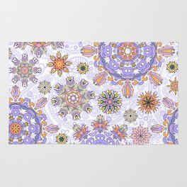 Floral pattern with stylized snowflakes. Christmas winter snow theme pattern. Rug