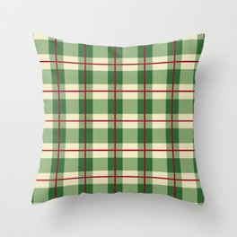 Plaid Pattern in Green and Beige Throw Pillow