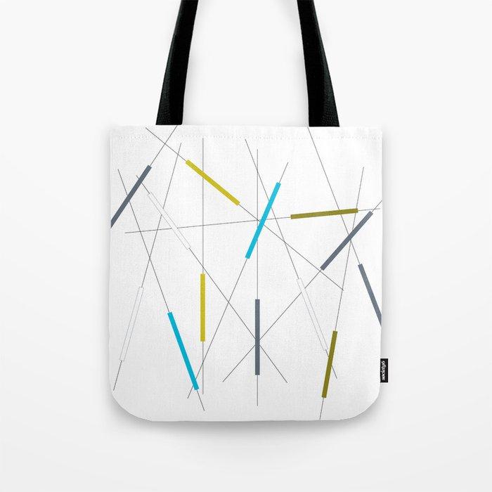 Criss cross blue, green & gray Tote Bag