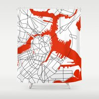 boston map Shower Curtains featuring Downtown Boston Map by Studio Tesouro
