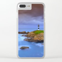 View of Pancha Island in Ribadeo, Lugo before a storm. Clear iPhone Case