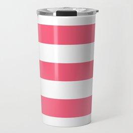 Brink pink - solid color - white stripes pattern Travel Mug