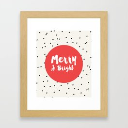 Merry and bright / Dots holiday print Framed Art Print