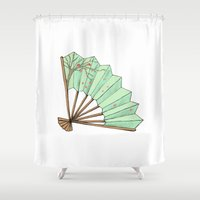 terry fan Shower Curtains featuring Fan by Rene Robinson