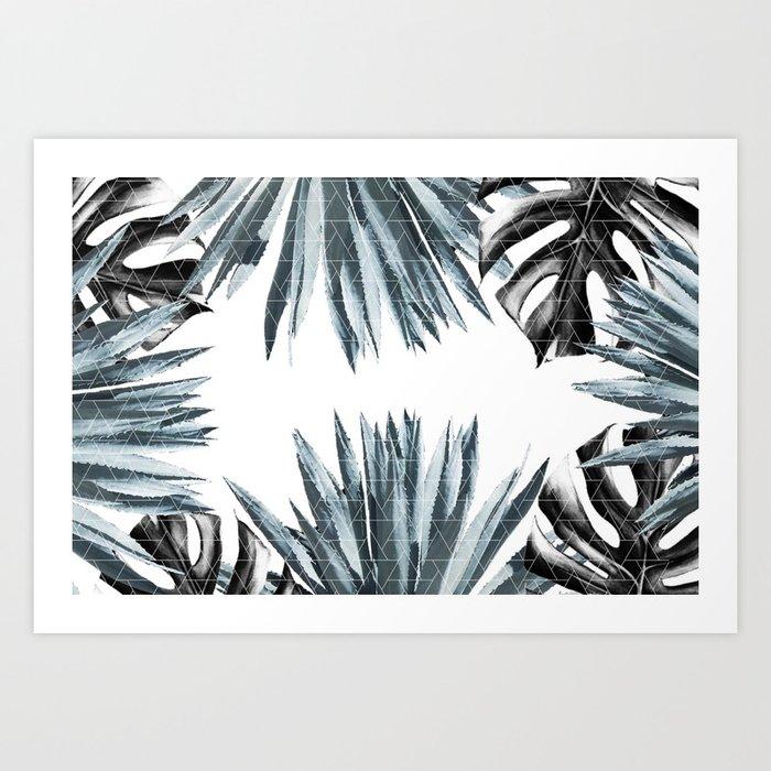 Geometric agave & monstera Art Print