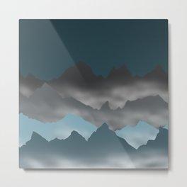Blue Mountains and Mist Digital Illustration - Graphic Design Metal Print