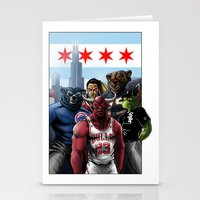 sports Stationery Cards featuring Chicago Sports by Carrillo Art Studio