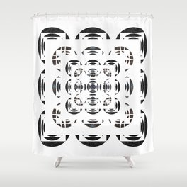 Optical Black and White Peace Mandala Shower Curtain