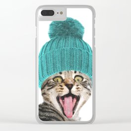 Cat with hat illustration Clear iPhone Case
