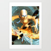 aang Art Prints featuring Aang by Quirkilicious