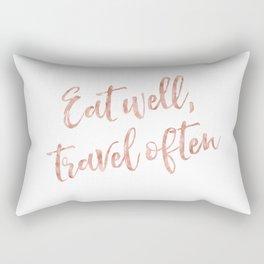 Eat well, travel often - rose gold quote Rectangular Pillow