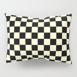 Black and Cream Yellow Checkerboard Pillow Sham