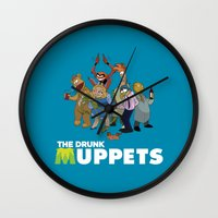 muppets Wall Clocks featuring Drunk Muppets by Jared Gase