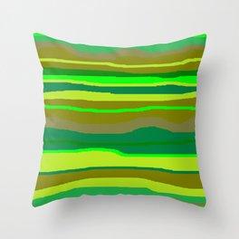 Green Multi Brush Strokes Throw Pillow