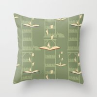library Throw Pillows featuring Library by S. Vaeth