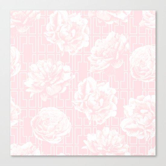 Rose Garden Pink Flamingo on White Mid-Century Lattice Canvas Print