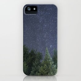 Pine trees with the northern michigan night sky iPhone Case
