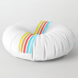 Barbegazi - Colorful Thin Lines on Beige Floor Pillow