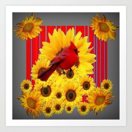 YELLOW SUNFLOWERS RED CARDINAL GREY  ART Art Print