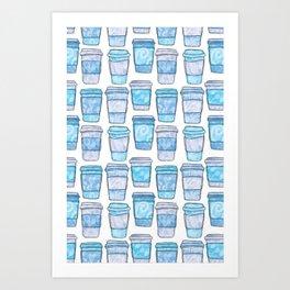 Coffee Cups | Blue Palette Art Print
