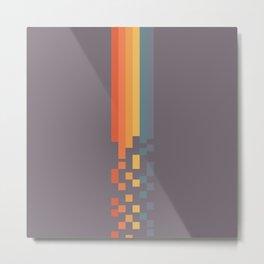 Classic 70s 80s STyle Retro Stripes Pixel Drops - Aimatsu Metal Print