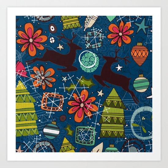 joyous jumble indigo Art Print