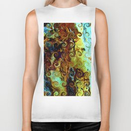 Colorful Wood Spirals Background #Abstract #Nature Biker Tank
