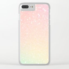 Glitter Pink Sparkle Ombre Clear iPhone Case