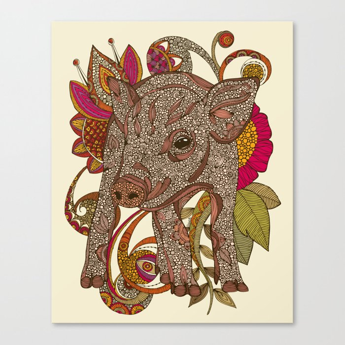 Paisley Piggy Canvas Print